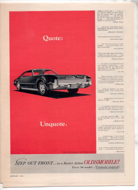 1966 1967 OLDSMOBILE TORONADO VINTAGE CAR AD