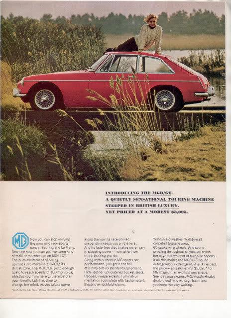 1966 1967 MG MGA/GT MGA GT VINTAGE CAR AD