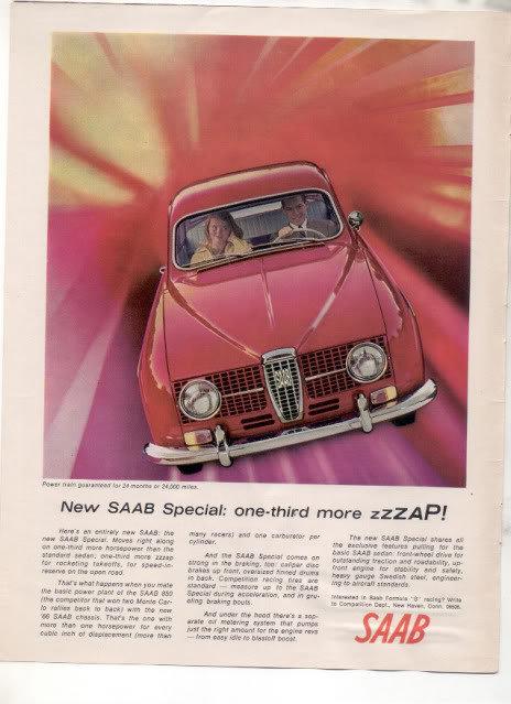 1966 1967 SAAB SPECIAL VINTAGE CAR AD