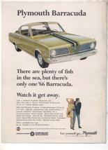 1966 PLYMOUTH BARRACUDA VINTAGE CAR AD - $5.99