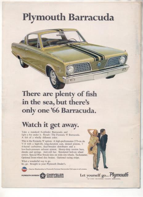 1966 PLYMOUTH BARRACUDA VINTAGE CAR AD