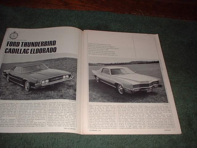 1966 FORD THUNDERBIRD CADILLAC ELDORADO ROAD TEST AD
