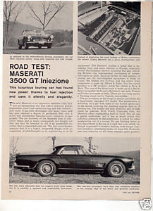 1962 MASERATI 3500 GT INIEZIONE ROAD TEST CAR AD