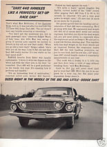 1962 1963 Dodge Dart 440 Vintage Car Ad - $7.99
