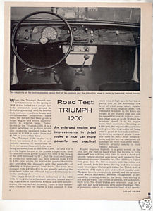 1962 TRIUMPH 1200 ROAD TEST CAR AD