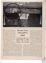 1962 TRIUMPH 1200 ROAD TEST CAR AD - $9.99