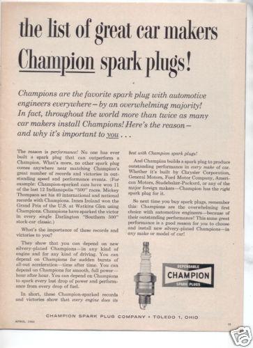 1962 1963 CHRYSLER 300H 300 H CAR AD CHAMPION PLUGS