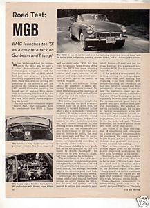1962 MGB ROAD TEST CAR AD