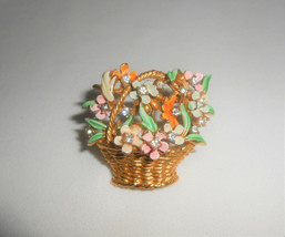 MY FAIR LADY BSK Vintage Enamel Flower Basket Rhinestone Brooch Pin - $28.50