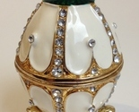 Jeweled Enamel Egg Trinket Box Jewelry Holder Rhinestones White Green Gold Stand