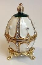 Jeweled Enamel Egg Trinket Box Jewelry Holder Rhinestones White Green Go... - $65.00