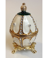 Jeweled Enamel Egg Trinket Box Jewelry Holder Rhinestones White Green Gold Stand - $65.00