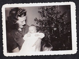 Antique Vintage Photograph Mom Holding Little Baby By Christmas Tree - $5.35