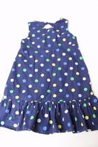 K4508 Kids GYMBOREE navy blue cotton/dots sleeveless DRESS, A-line, ruff... - $19.29
