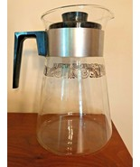 PYREX 10 Cup Coffee Pot Carafe Server with Lid Silver Filigree Band Patt... - $14.90