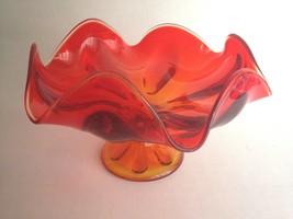 "Vintage Reddish Orange Glass Wavy Bowl Dish on Pedestal 8"" Wide 5.5"" Tall - $20.83"