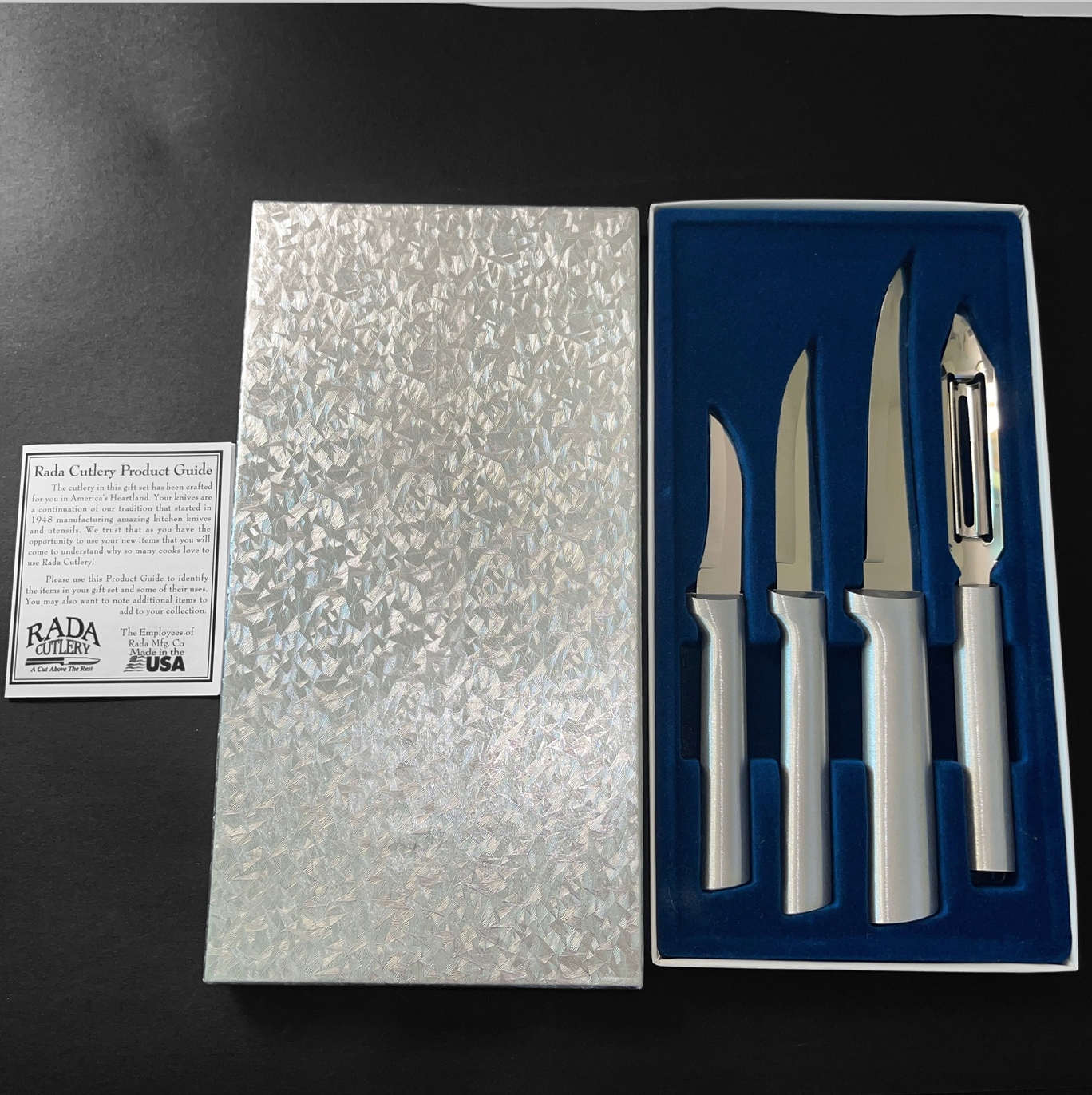 Rada Cutlery 4 Piece Paring Knife Vegetable Peeler Set New in Box with Paper - $36.99