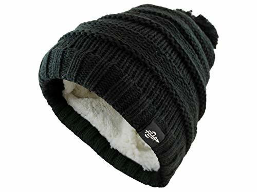 Fear0 Kids Extreme Warm Plush Wool Insulated Black Knit Cable Pom Pom Skullies C