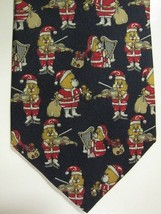NEW Brooks Brothers Black With Teddy Bear Musician Santas Silk Tie - $37.49