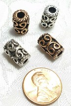 LARGE SCROLL DESIGN TUBE BEAD 3D FINE PEWTER BEAD 13x8x8mm; 4mm Hole image 2