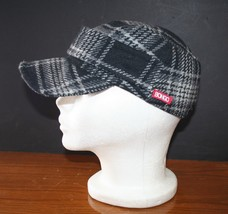 Bongo Wool Military Cap Pub Hat Cadet Cap Wool Plaid 6 3/4- 6 7/8 EUC - $14.27