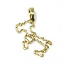 SOLID 18K YELLOW GOLD ITALY WITH HEART 20 mm PENDANT, LOVE ITALY - $178.38