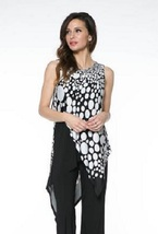 Last Tango Black/White Sleeveless High-Low Crossover Tunic-New Markdown! - $59.90