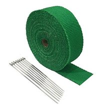 "2"" x 25' Protection Header Exhaust Heat Wrap Green with 8 Steel NEW fits Chevrol - $17.00"
