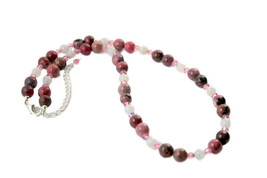 Rhodonite, Rainbow Moonstone & Pink Crystal Gemstone Beaded Necklace 17.... - $46.99