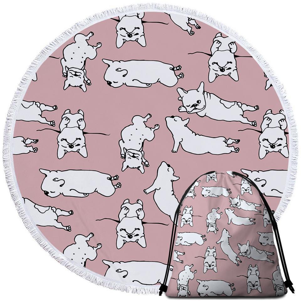 Sleeping Bulldog Puppies Beach Towel - $12.32 - $35.93