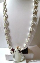 WHITE LINK CHAIN LUCITE W SILVER LOOP LONG NECKLACE LARGE CLEAR & WHITE ... - $29.00