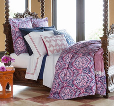 Sferra Rowyn F/Queen Duvet Cover Navy Berry Egyptian Cotton Percale Italy New - $319.90