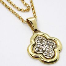 18K YELLOW & WHITE GOLD NECKLACE WITH DIAMONDS CROSS ROUNDED PENDANT image 3