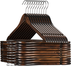 High Grade Wooden Suit Hangers 20 Pack With Non Slip Pants Bar Smooth Finish - $27.48