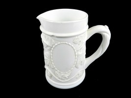 Fenton Milk Glass Pitcher, Grapes & Leaves Bas Relief Pattern, Vine Handle - $14.65