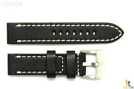 24mm Nero in pelle Liscia Cinturino Orologio con / Cuciture per Luminox - $45.54