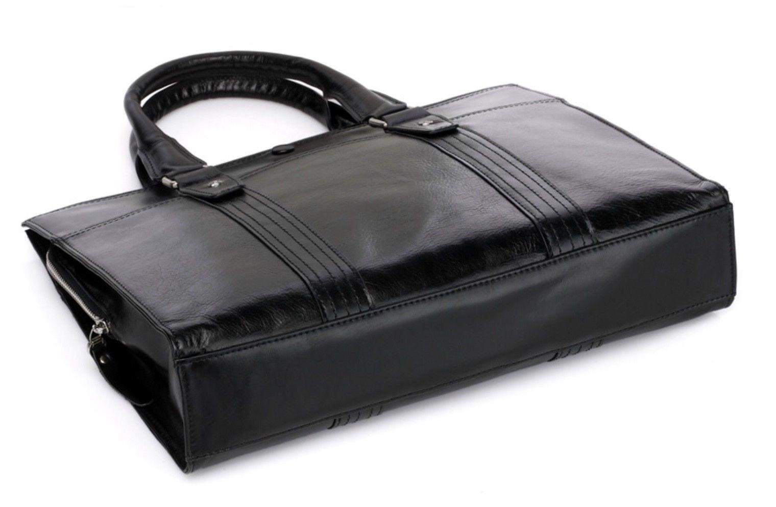 Mens Black Italian Leather Business Bag Briefcase Laptop Case Messenger Bag