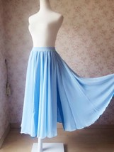 Two Blue Colors Chiffon Elastic Waist Long Split Skirt, Maxi Skirt Beach Skirt