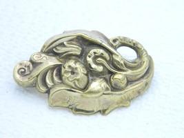 Vintage Gold Tone Art Nouveau Style Flower Repousse Pin Brooch - $19.80