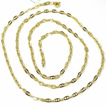 9K YELLOW GOLD CHAIN MARINER FLAT OVAL LINK 2.7 MM THICKNESS, 16 INCHES, 40 CM image 1