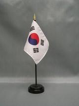 "SOUTH KOREA 4X6"" TABLE TOP FLAG W/ BASE NEW DESK TOP HANDHELD STICK FLAG - $4.95"