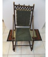 Antique Wood Rocking Chair  Green Upholstered Fold Up - $55.44