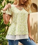 Suzanne Betro Women's Floral Crisscross-Yoke Layered-Hem Tunic (Green, 2X) - $27.68