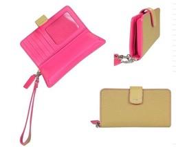 Coach Bleecker Leather Edgepaint Phone Wallet 62273 Camel Pink Ruby - $89.09