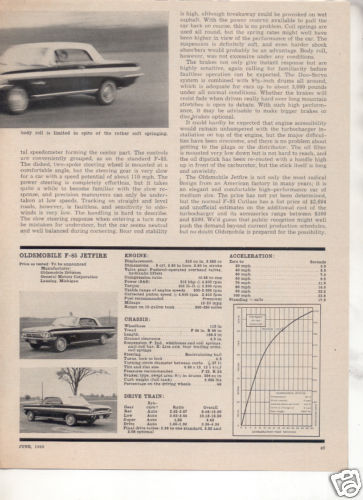 1962 OLDSMOBILE CUTLASS JETFIRE ROAD TEST CAR AD