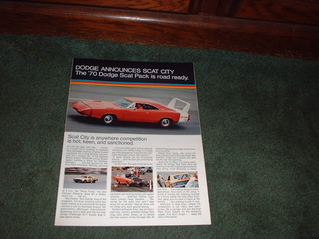 1970 DODGE SCAT PACK BROCHURE CAR AD CHARGER GT DART