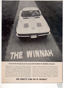 1963 1964 CHEVY CORVETTE STING RAY CAR AD