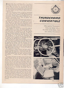 1964 FORD THUNDERBIRD CONVERTIBLE ROAD TEST CAR AD