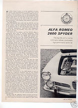1964 ALFA ROMEO 2600 SPYDER ROAD TEST CAR AD - $7.99