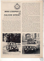 1964 MINI COOPER S FALCON SPRINT ROAD TEST CAR AD - $7.99
